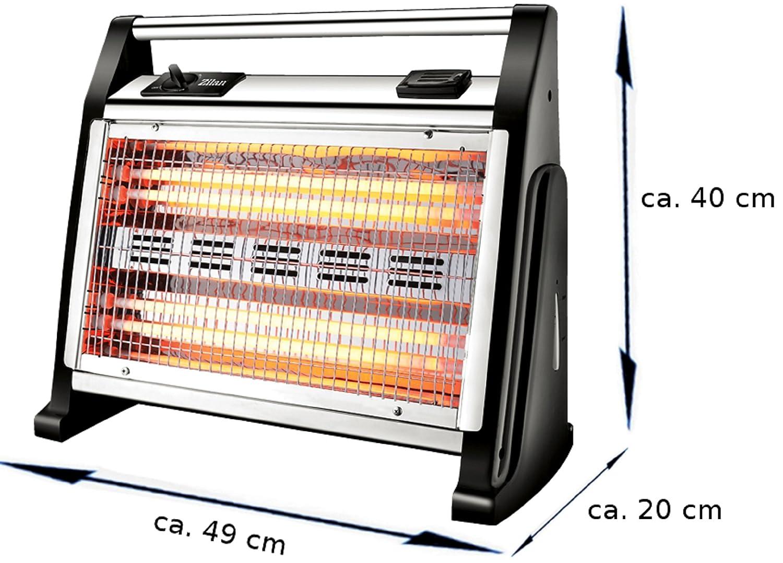 Infrarot Heizstrahler 4 Quarz Heizelemente Turbo Heizl/üfter Mini Heizung Heizstrahler mit integriertem Luftbefeuchter Elektroheizung Quarz Heizung elektrisch 1600 Watt 3 Stufen