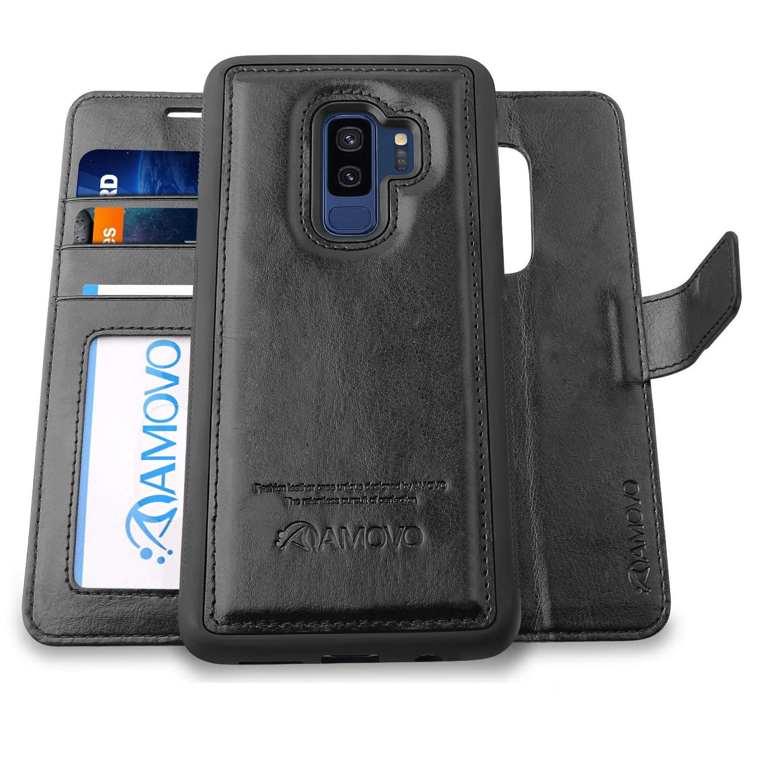 AMOVO Case for Galaxy S9 Plus [2 in 1], Samsung Galaxy S9 Plus Wallet Case [Detachable Wallet Folio] [Premium Vegan Leather] Samsung S9 Plus Flip Case Cover with Gift Box Package (Black, S9+) by Amovo (Image #1)