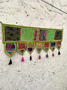 Christmas Decorative- ''40'' Cotton Ethnic Wall Hanging Home Decor Patchwork Door Topper Valances Window Indian Valances Hand Embroidered Patchwork Toran Bohemian Decor Living Room Decor Green