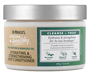 Dr. Miracle's Strong & Healthy Hydrating & Strengthening Deep Conditioner. Contains Coconut Oil to provide intense moisture and repair damaged hair.