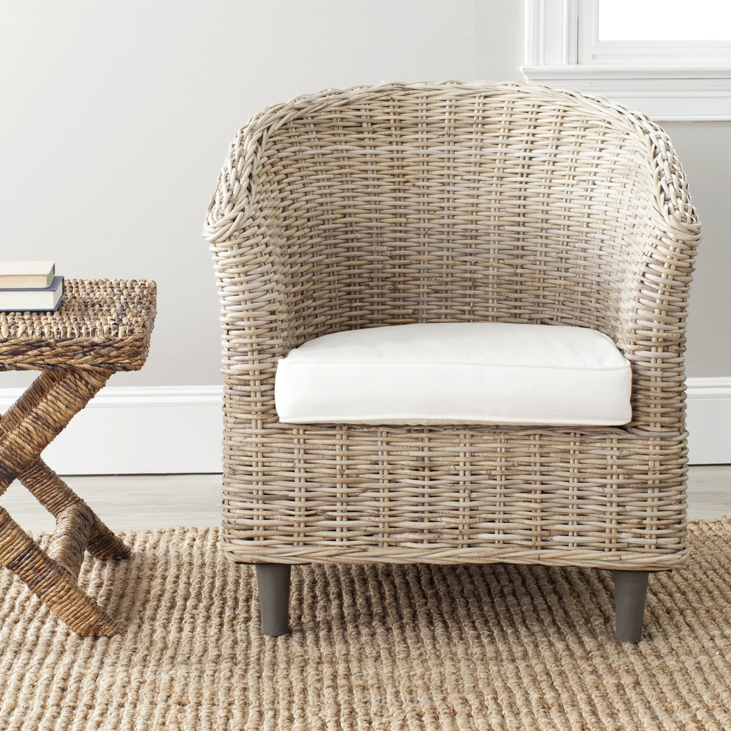 Bon Amazon.com: Safavieh Home Collection Omni Natural Unfinished Barrel Chair:  Kitchen U0026 Dining