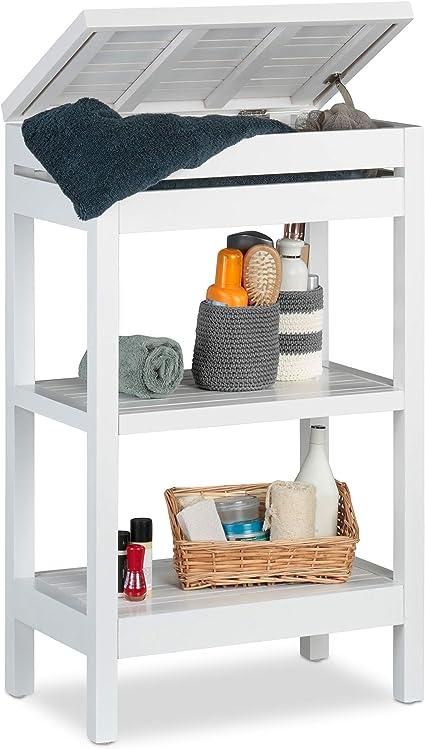 Relaxdays Estantería de baño, Tres estantes, Compartimento con Tapa, Abierta, Bambú, Blanco, 76,5 x 46 x 29,5 cm