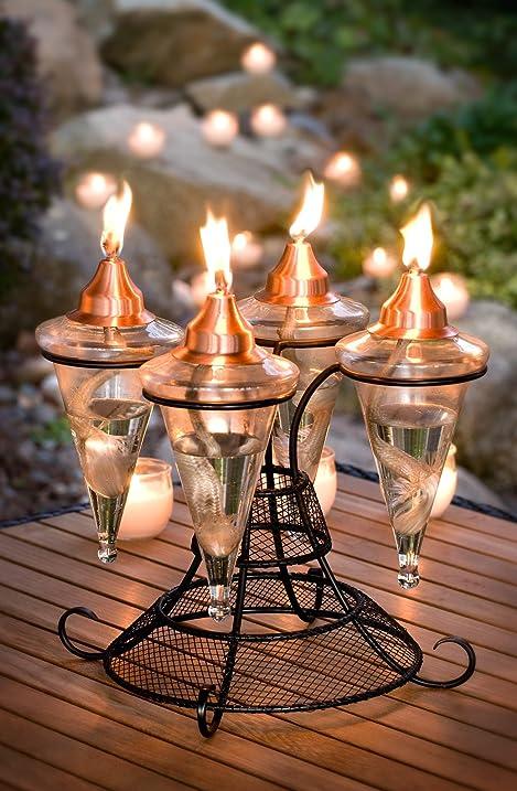 H Potter Patio Torch Table Top Outdoor Garden Torch Copper Top GAR380