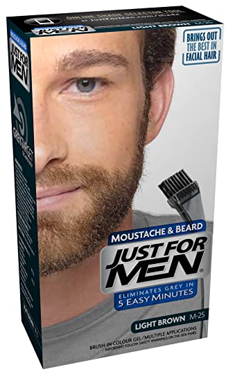 Just For Men M25 Moustache and Beard Facial Hair Color Light Brown ...