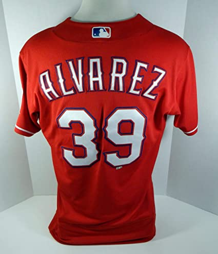 e4c465f2088 Image Unavailable. Image not available for. Color  2017 Texas Rangers Dario  Alvarez  39 Game Issued Red Jersey RNGRS178 - Game Used MLB