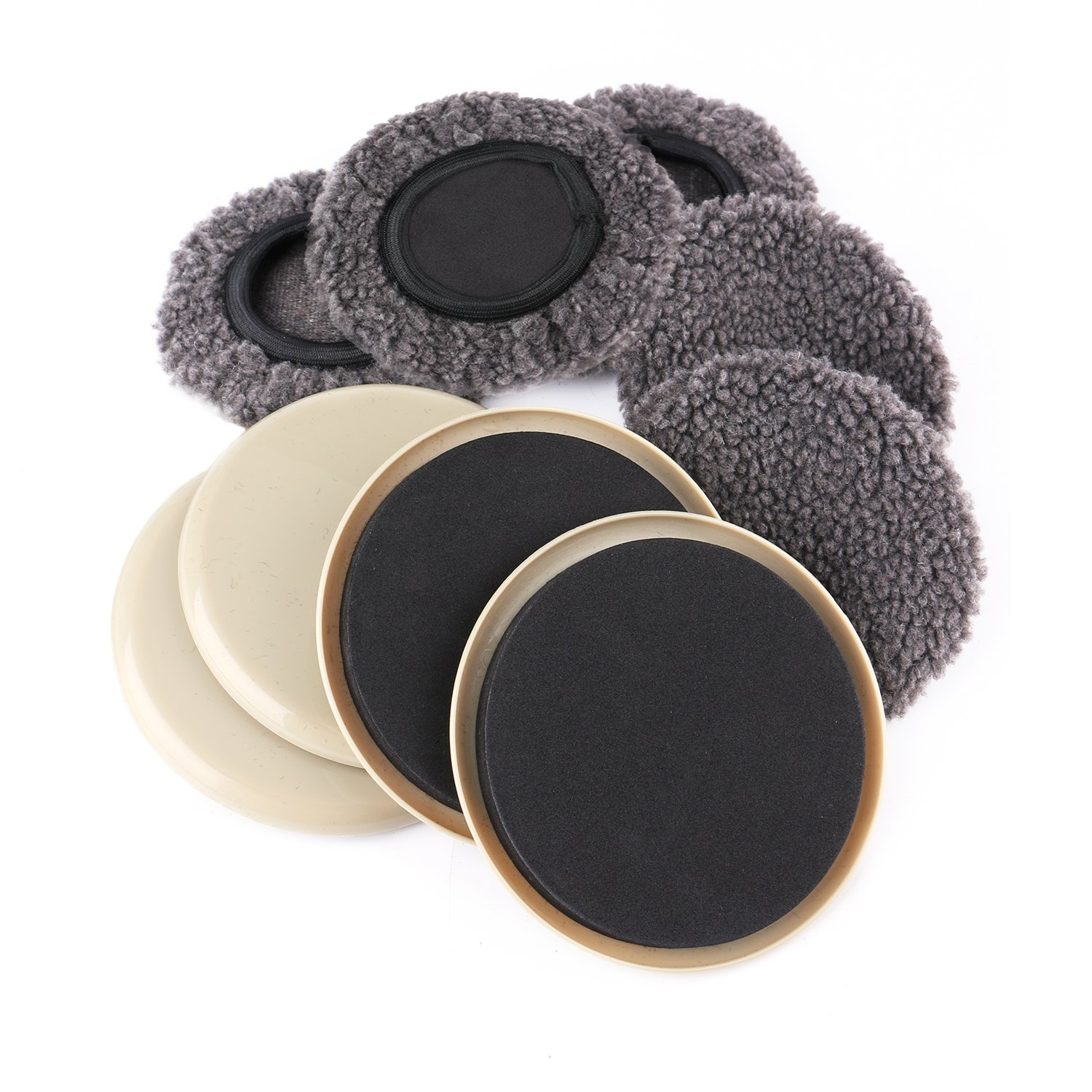 Furniture Slider - (5 Pack) 5 inch Round Reusable Furniture Sliders for Hard Surfaces & Carpet- Sock Sliders for Hard Surfaces -Plastic Furniture Movers for Carpet Surfaces by Thetis Homes
