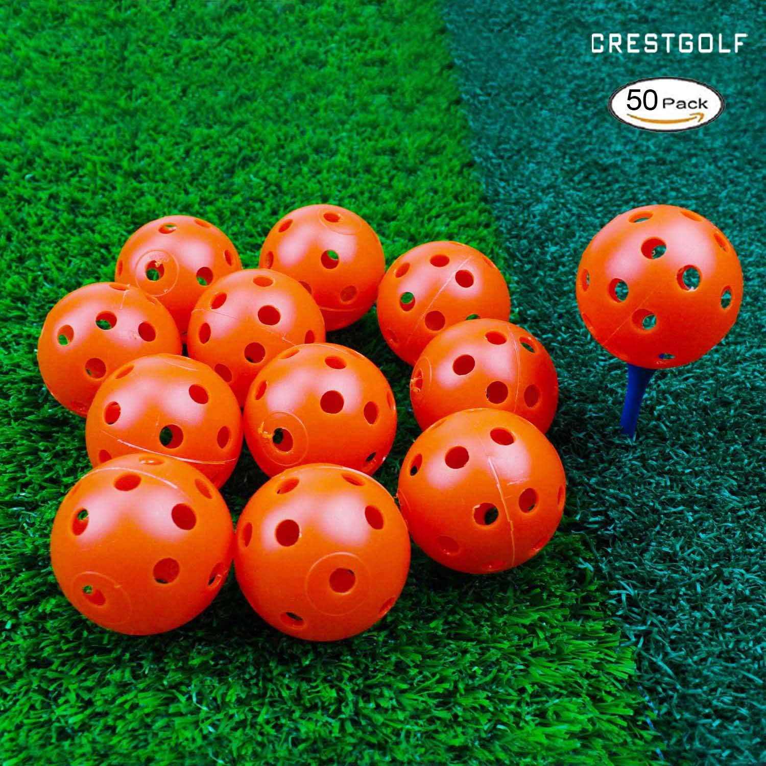 Crestgolf 12/50 Pack Plastic Golf Training Balls - Airflow Hollow 40mm Golf Balls for Driving Range, Swing Practice, Home Use,Pet Play.(Orange,50pack) by Crestgolf