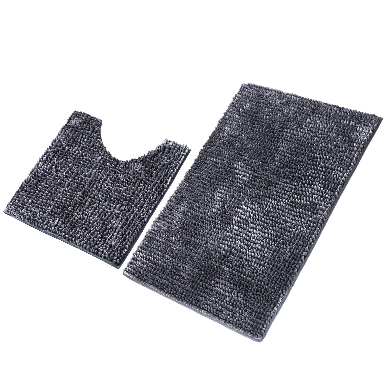 LOCHAS Shiny Plush Chenille Bath Rug Set 2-Piece, Soft Shaggy Bathroom Rugs Absorbent Carpet 36''x24'' + Non Slip Toilet Contour Mats 20''x20'', Machine Washable Carpets, Dark Gray by LOCHAS