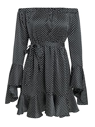 2df1f2979a30ac Annybar Damen Sommer A-Linie Gepunktetes Kleid Schulterfreies Rückenfreies  Elegant Langarm Vintage Kurz Minikleid Volant