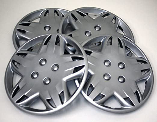 TuningPros WSC2-009S14 Hubcaps Wheel Skin Cover Type 2 14-Inches Silver Set of 4