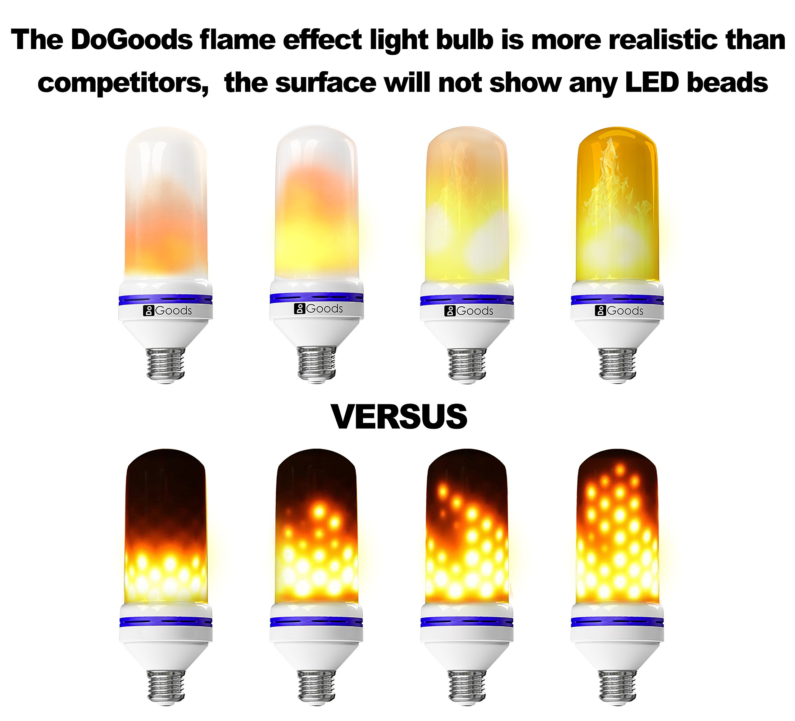 LED Flame Effect Light Bulb - Flickering Warm Flame Bulbs, E26 Standard Base, 105pcs 2835 LED Beads, Realistic Flaming Fire, Perfect Romantic Decorative Lighting at Home, Candelabra, Patio or Bar