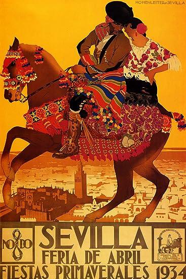 "1934 Sevilla Feria de Abril & Fiestas Primaverales - Spanish Travel Poster Reproduciton (24"""