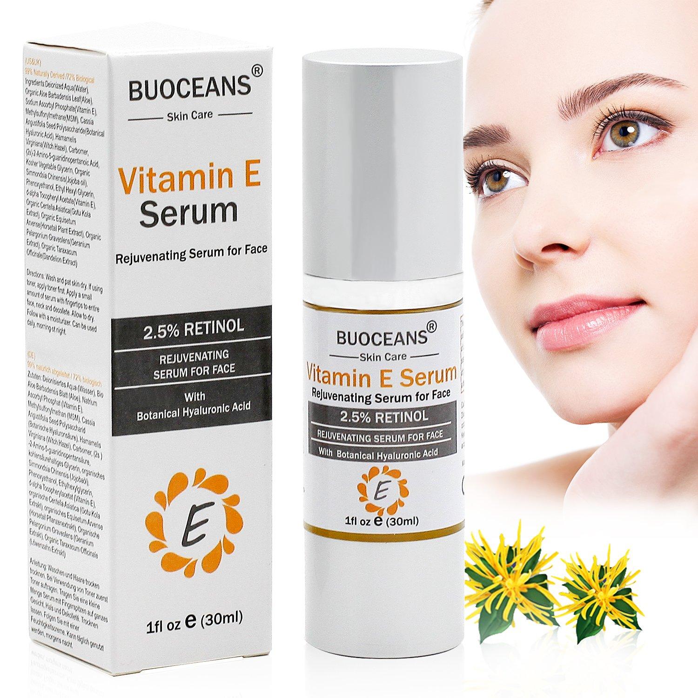 Vitamin E Serum für Gesicht mit Hyaluronsäure Anti Aging Serum Feuchtigkeits Serum Anti Aging Gesichtspflege gegen Gesichtfalten Linien und alle