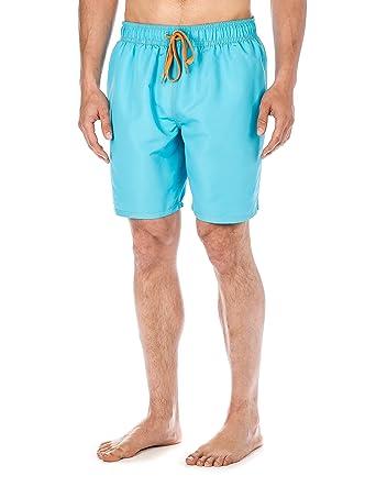 cce6e9c23b Noble Mount Mens Premium Swim Trunks - Aqua/Orange - Medium
