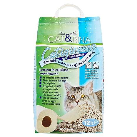 Arena para gatos a base papel-celulosa, saco de 12 lt.