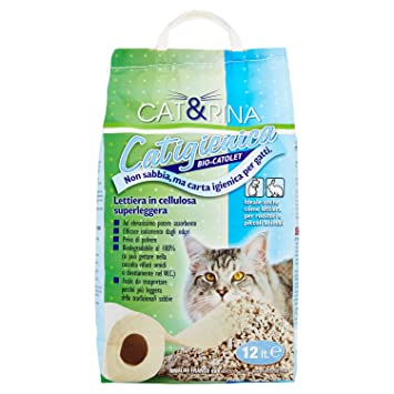 Arena para gatos a base papel-celulosa, saco de 12 lt ...