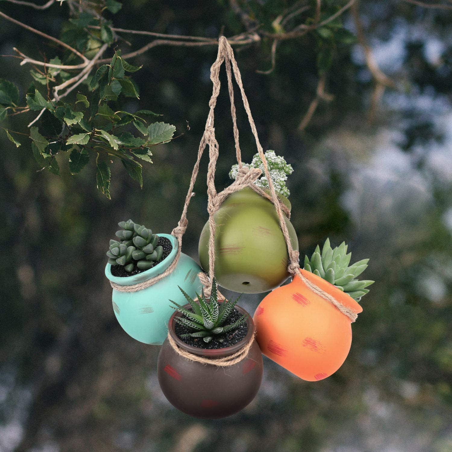 Yesland Ceramic Hanging Mini Flower Planters One Set of 4 Wall or Ceiling Mount Dangling Container in Earth Tone Colored for Indoor Outdoor Decor