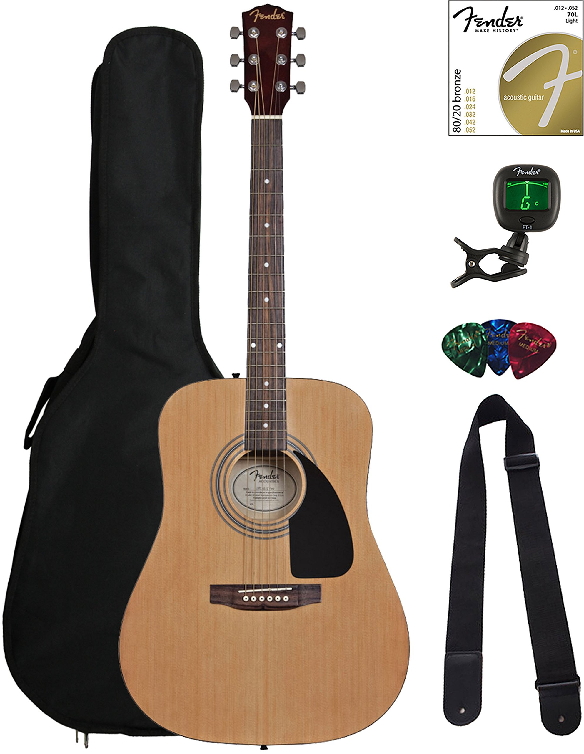 Fender FA-115 Dreadnought Acoustic Guitar - Natural Bundle with Gig Bag, Tuner, Strings, Strap, and Picks by Fender