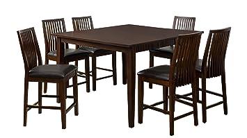 Furniture Of America Denver 7 Piece Dining Set, Counter Height, Walnut