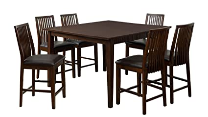 Furniture Of America Denver 7 Piece Dining Set, Counter Height, Walnut
