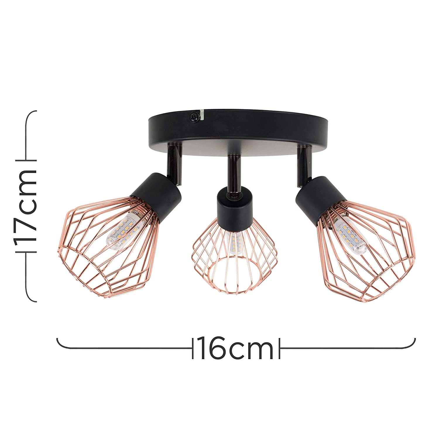 Retro Style 3 Way Black /& Copper Round Plate Adjustable Metal Basket Cage Design Ceiling Spotlight Complete with 3w G9 Bulbs 6500K Cool White
