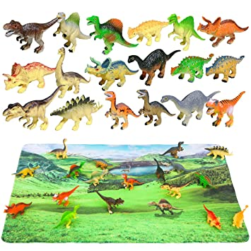 18 Pieces Dinosaurs Play Set in Tub Prehistoric Toy Playset For Kids Gift