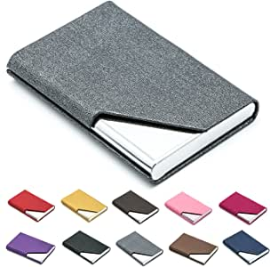 Business Name Card Holder Luxury PU Leather & Stainless Steel Multi Card Case,Business Name Card Holder Wallet Credit Card ID Case/Holder for Men & Women - Keep Your Business Cards Clean (Gray) ¡
