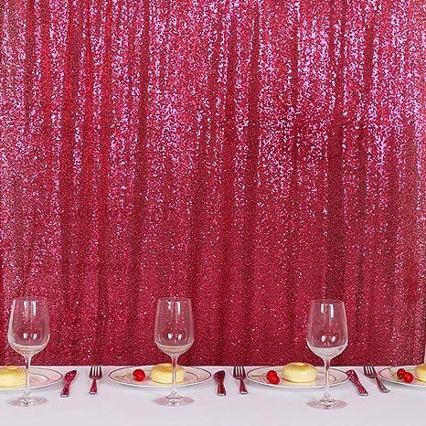 Trlyc Pailletten Vorhang Für Vatertag Hochzeit Party 70 X 200 Cm Fuchsia Küche Haushalt