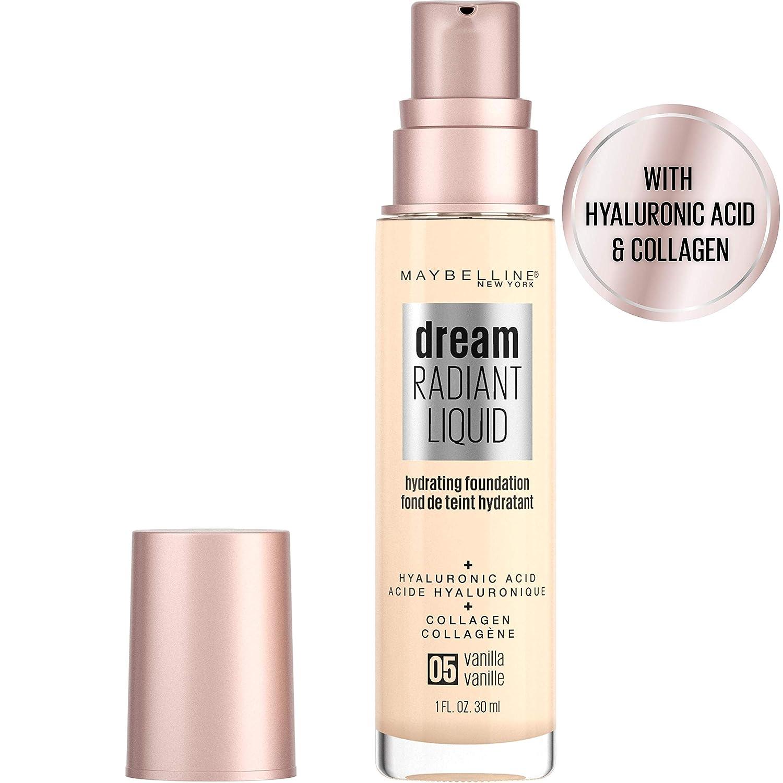 Maybelline Dream Radiant Liquid Medium Coverage Hydrating Makeup, Lightweight Liquid Foundation, Vanilla, 1 Fl. Oz