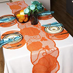 Fall Thanksgiving Decorations Table Runner and Place Mats of 4 Kits, 13 x 72 Inch Brow Pumpkin Table Runner Harvest Lace Maple Leaves Runner for Thanksgiving Dinner Autumn Events Indoor Seasonal Decor