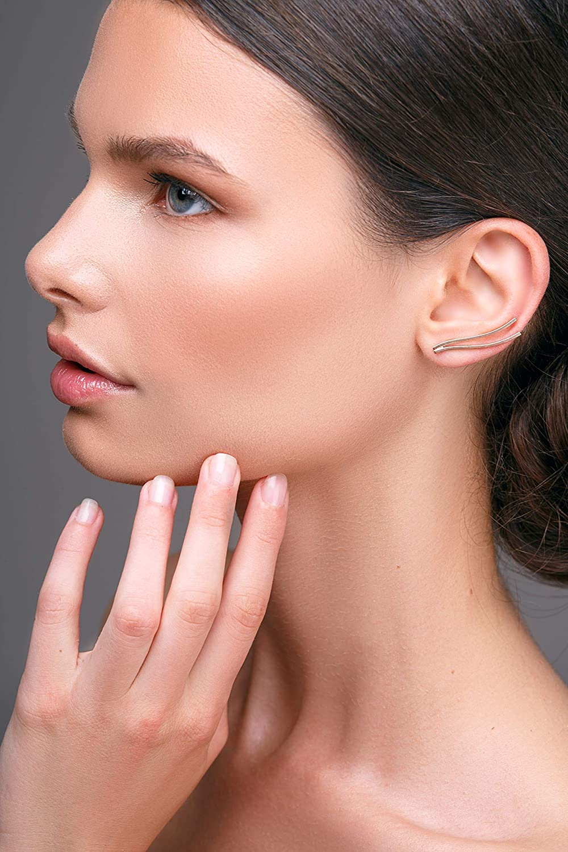 earcuff earrings rose gold jewelry Rose gold ear climber earrings minimalist ear cuff earrings minimalist jewelry