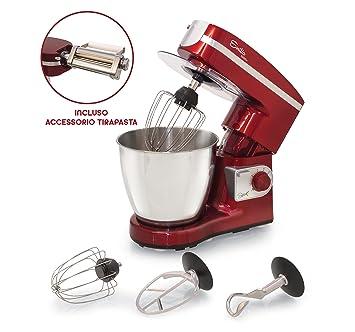 Spice: amasadora profesional circular Emilia, capacidad: 7 l - 1000 W Red + Tirapasta: Amazon.es: Hogar