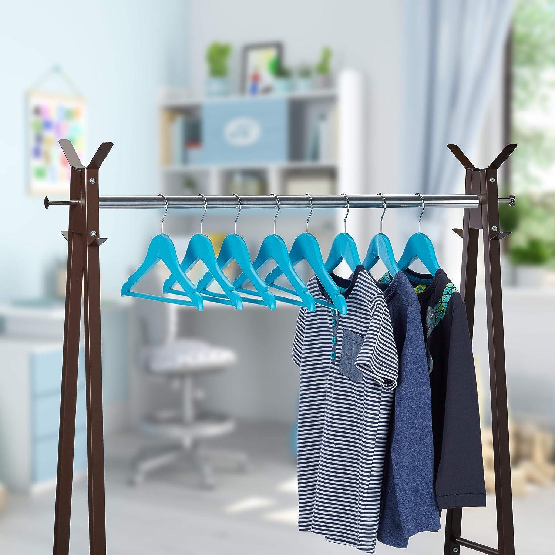 360/° drehbarer Haken Kerben Relaxdays 40 x Kleiderb/ügel Kinder Jungen /& M/ädchen mit Hosenstange Holz blau Kinderb/ügel
