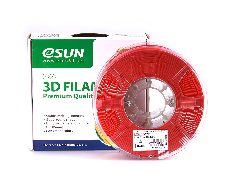 Bobina da 1KG eSUN Filamento ABS per Stampante 3D Precisione Dimensionale +//- 0.05mm Nero Filamento ABS 1.75mm 2.2 LBS Filamento per Stampanti 3D