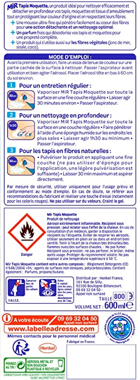 Mir Tapis Moquette Spray Mousse Nettoyant Tapis Et Moquettes 600