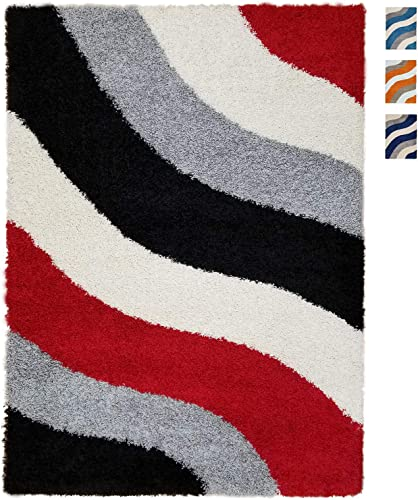 Shag Area Rug 7×10 Wave Curve Red Black Gray Ivory Shag Rugs for Living Room Bedroom Nursery Kids College Dorm Carpet by European Made MH10 Maxy Home