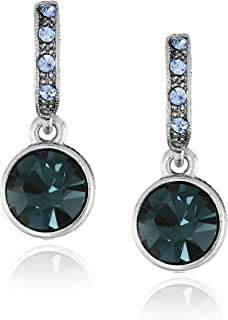 product image for 1928 Jewelry Hematite-Tone Blue Classic Drop Earrings