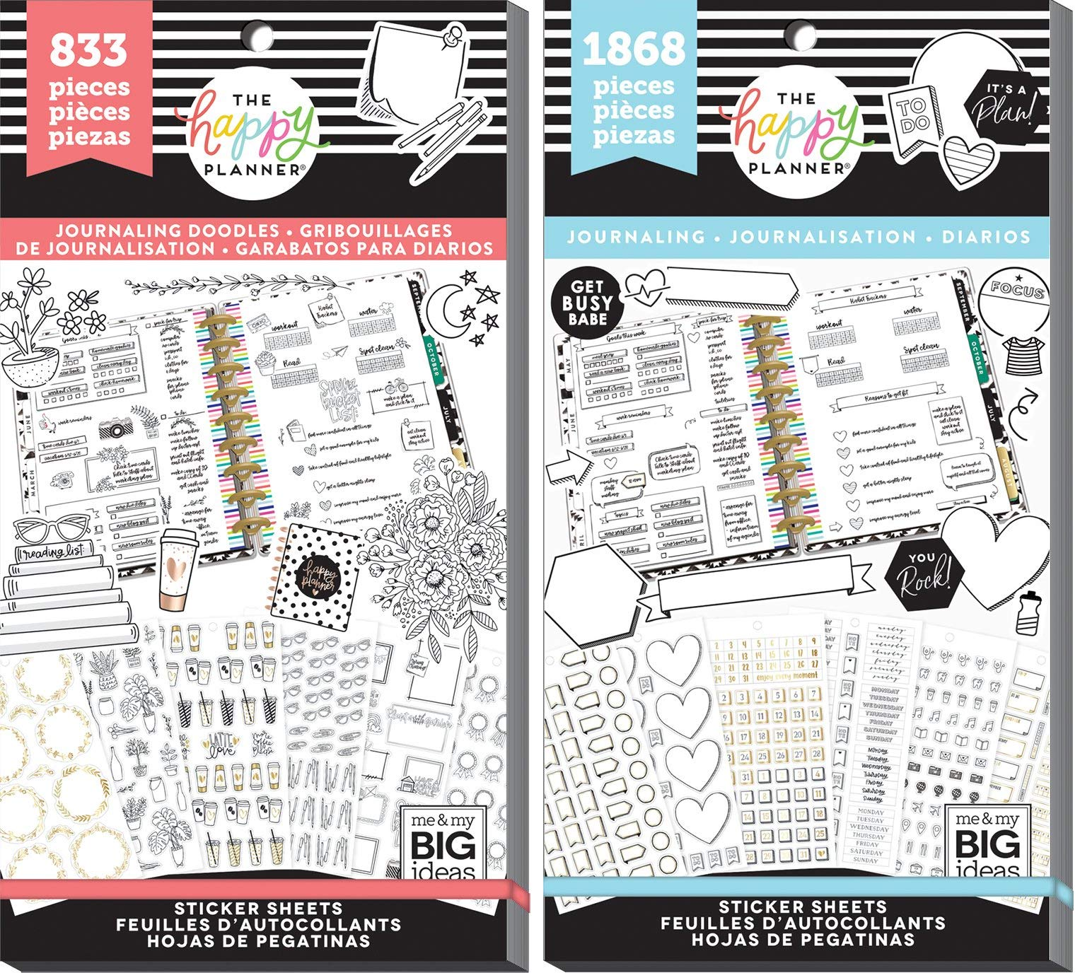 Happy Planner Journaling - Decorative Doodles (833) & Functional (1868) - 2 Sticker Books by MAMBI