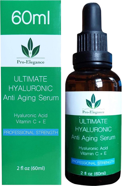 Hyaluronic acid serum for the skin, double-size 60 ml bottle, jojoba oil, green tea, aloe vera, vitamin E, vitamin C, better anti-aging and anti-wrinkle serum
