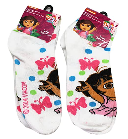 Dora the Explorer Enjoying Butterflies White Kids Socks (Size 6-8, 2 Pairs