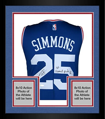 Framed Ben Simmons Philadelphia 76ers Autographed Blue Swingman Jersey  with quot 1st Overall Pick 16 quot  f06b1371d