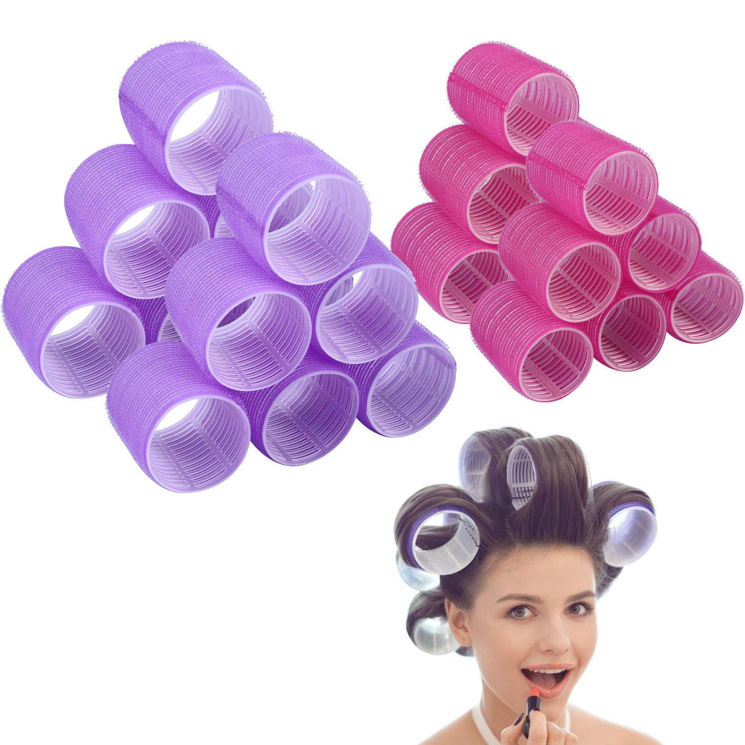 Jumbo Size Hair Roller sets, Self Grip, Salon Hair Dressing Curlers, Hair Curlers, 2 size 24 packs (12XJUMBO+12XLARGE) by Afanso