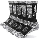 YUEDGE Men's Moisture Wicking Work Boot Socks 5Pairs/Pack Comfort Cotton Heavy Cushion Crew Sports Athletic Socks