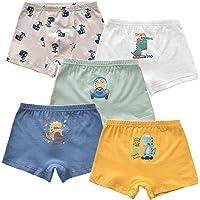 ANGUYA Calzoncillos Bóxer de algodón para Niños Ropa Interior Paquete de 5 Boxeadores Pantalones Cortos elásticos
