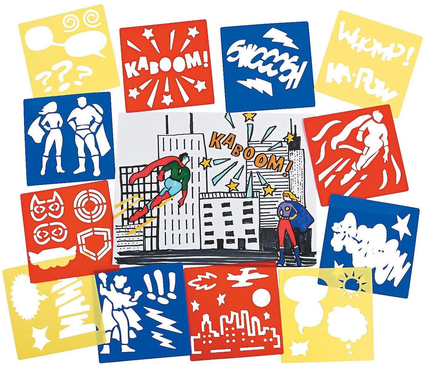 5 x 5 12 Pack Plastic Super Hero 13642723 Fun Express Superhero Stencils