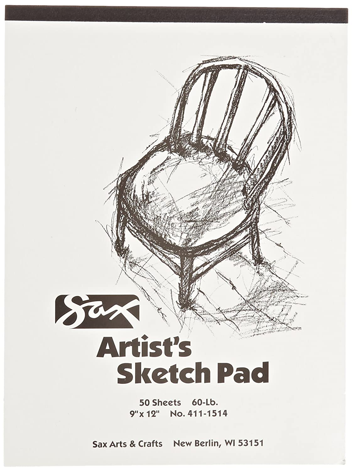 White 9 x 12 inches Sax Artists Sketch Pad 60lbs 453692 50 Sheets per Pad