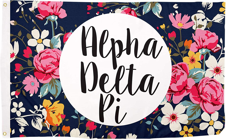 Alpha Delta Pi Floral Pattern Sorority Flag Greek Banner Large 3 feet x 5 feet Sign Decor ADPi