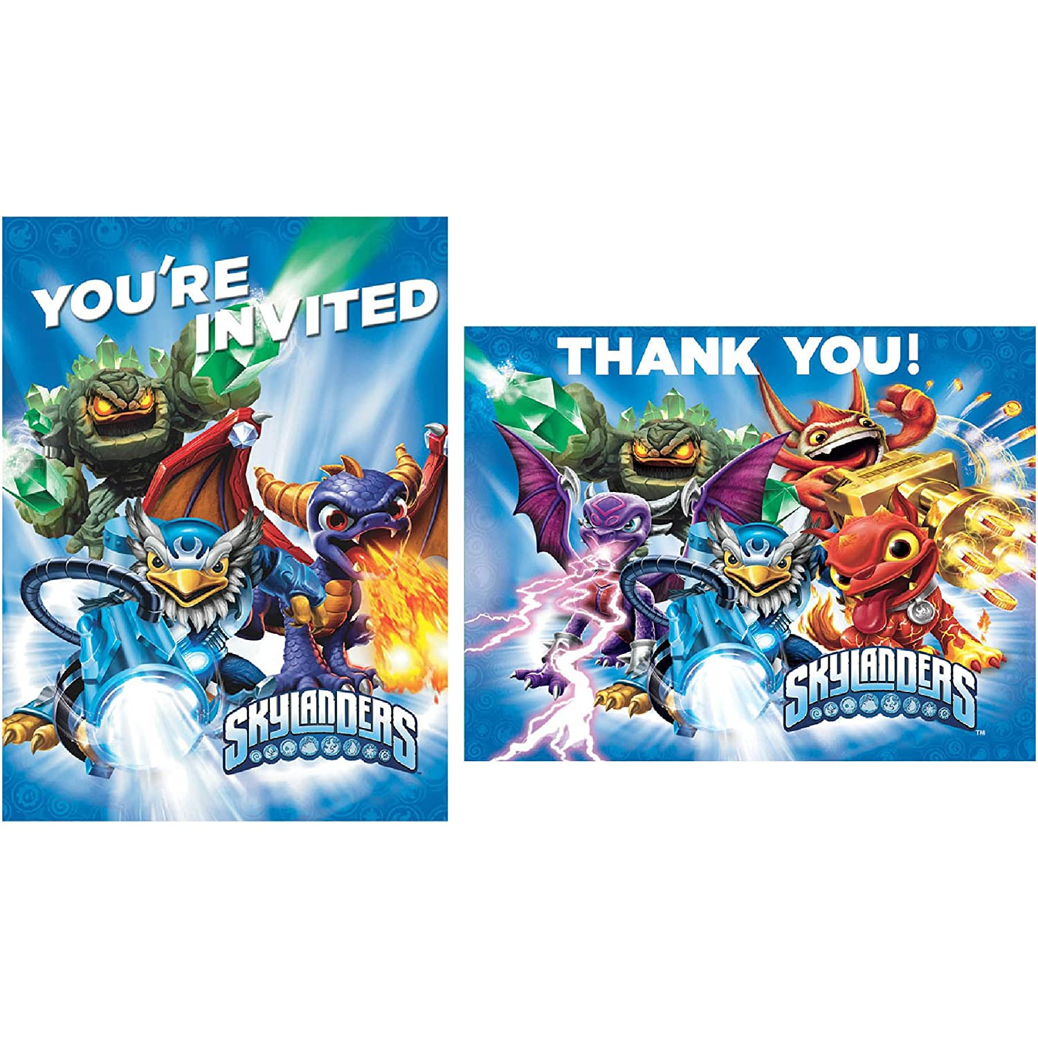 Amazon skylanders invite thank you note cards 8 each amazon skylanders invite thank you note cards 8 each invitations birthday party toys games bookmarktalkfo Choice Image
