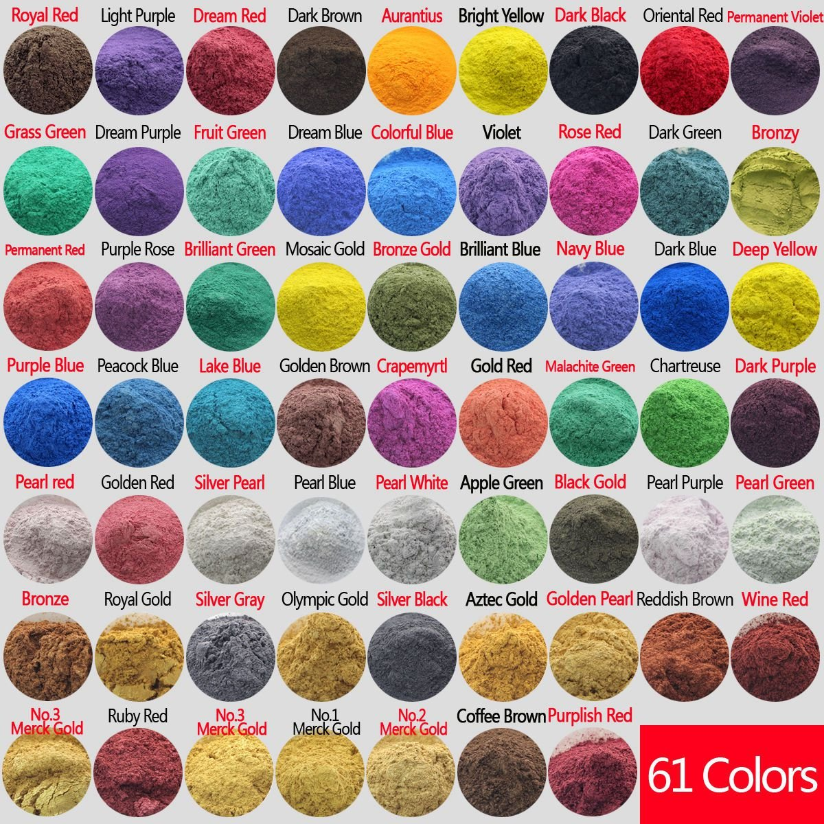 610g Cosmetic Grade Natural Mica Powder Pigment Soap Candle Bath Bombs Eyeshadow Lipsticks Colorant Dye 61 Color (10 grams Each, 610 Grams Total)