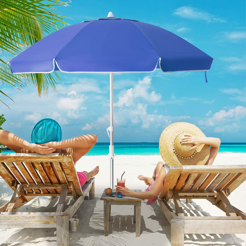 MEWAY 6.5ft Beach Umbrella with Sand Anchor & Tilt Mechanism, Portable UV 50+ Protection,Outdoor Sunshade Umbrella with Carry Bag,for Garden Beach Outdoor (Royal Blue)